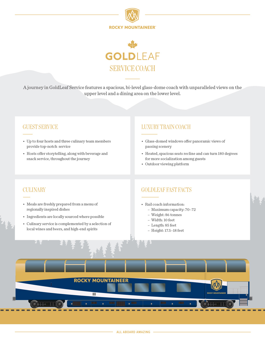 Rocky Mountaineer Gold Leaf Service